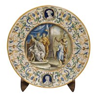 19th Century Hand Painted Majolica Platter from Italy