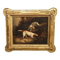 Antique French Hunting Dogs Painting, 19th Century
