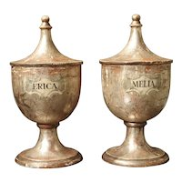Pair of Silvered Wooden Herb Containers from Italy, Circa 1930