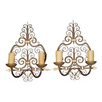 Pair of Wrought Iron French Sconces with Gilt Highlights, 1940s
