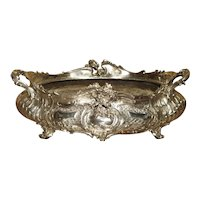 Large Antique Silvered Bronze Jardiniere from France, 19th Century