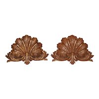 Pair of Late 19th Century Carved Oak Shells from France