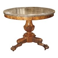 Antique French Empire Style Mahogany and Marble Center Table, Circa 1870