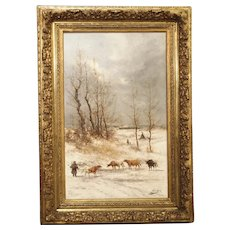 19th Century Belgian Winter Landscape by Jean Hill