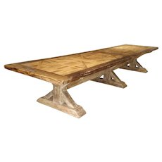 16 Foot Long Oak Parquet Top Dining Table from France