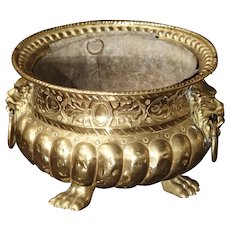 Early 1900s Brass Repousse Jardiniere from France