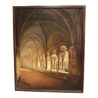 Antique French Cloister Oil Painting on Canvas, Mid 19th Century