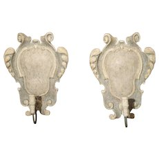 Pair of Pale Blue Painted and Carved Wooden Cartouche Sconces from Italy