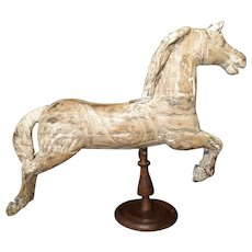 Antique Whitewashed Carousel Horse from Spain, Circa 1915