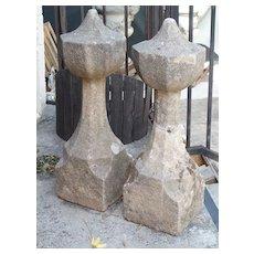 17th Century French Granite Garden Posts