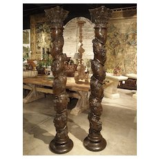 Pair of Carved 17th Century Solomonic Columns from France