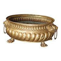 Antique Brass Repousse Jardiniere from France, Circa 1860