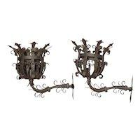 Pair of Large Iron Fleur De Lys Chateau Sconces from France, 1950s