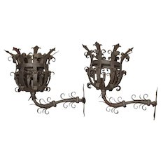 Pair of Large Iron Fleur De Lys Chateau Sconces from France, 1950s