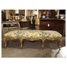 Antique Giltwood Regence Style Banquette from France, 19th Century