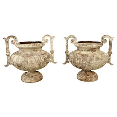 Pair of French Cast Iron Vases, Circa 1900
