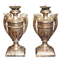 Pair of Silver Gilt Urn Shaped Wooden Candlesticks from Tuscany