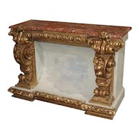 A Baroque Style Polychrome and Giltwood Console with Faux Marble Top
