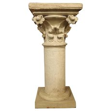 Antique Neo-Gothic Terra Cotta Pedestal from France, Circa 1890