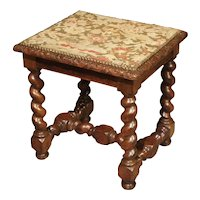 Antique Louis XIII Style Tabouret with Needlepoint, France-19th Century