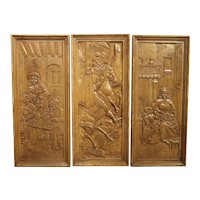 Set of Three Bas Relief Carved Belgian Panels, Circa 1930