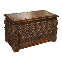 Neo-Gothic Walnut Wood Table Trunk from France, Circa 1860