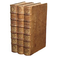 Set of 18th Century French Leather Bound Books, Les Vies Des Saints, 1715