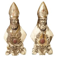 Pair of Carved and Parcel Silvered 17th Century Bishops, Lazio Italy