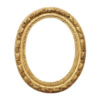 Small Antique Oval Giltwood Frame from Paris, 17th Century
