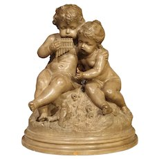 Antique Terra Cotta of a Boy and Girl, France Early 1900's