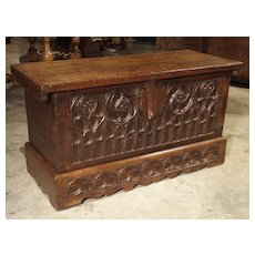 Small 17th Century French Gothic Trunk in Carved Oak