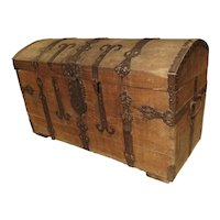 Large Domed Antique Oak Trunk from Alsace, France, Circa 1780