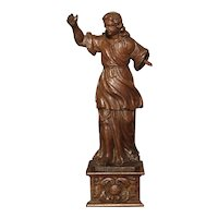Small 17th Century Carved Oak Statue from France
