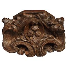 Small Antique Carved French Wall Bracket, 19th Century