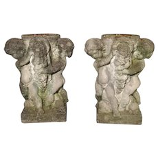 Pair of Early 1900's Reconstituted Stone Putti Planters from Belgium
