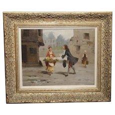 La Marchande De Fleurs, Oil on Canvas from France, Signed Leroy