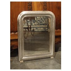 Small Antique French Louis Philippe Silverleaf Mirror