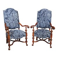 Pair of Large Carved Oak Armchairs from Spain, 20th Century