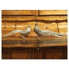 Pair of Decorative Silvered Pheasant Statues from France