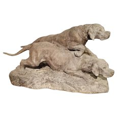 Antique Patinated Spelter Hunting Dogs Sculpture from France