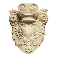 Carved Double Eagle Limestone Plaque from Italy