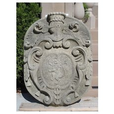 Carved Limestone Coat of Arms Plaque from Italy
