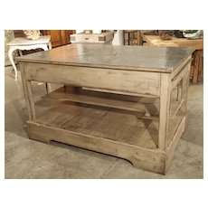 Painted Kitchen Island with Zinc Top from Provence, France