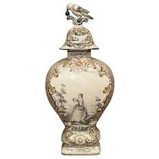 18th Century Dutch Polychrome Delft Baluster Form Vase