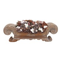 Long Wooden Jardiniere with Impressive Foliate Carved Scrolls