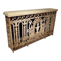 Antique Painted Wrought Iron Balcony Gate Console with Limestone Top