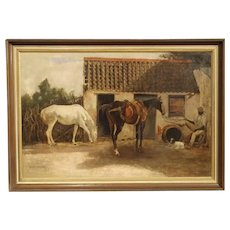 19th Century Oil Painting of Horses near the Stables