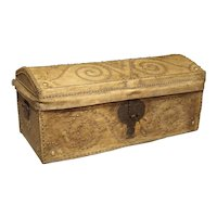 19th Century Natural Leather and Brass Studded Spanish Trunk