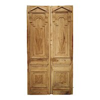 Pair of Antique French Egyptian Pine Doors with Carved Bird Motifs
