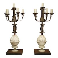 Pair of French Candelabra Lamps made from Hand Wrought Iron and Antique Elements